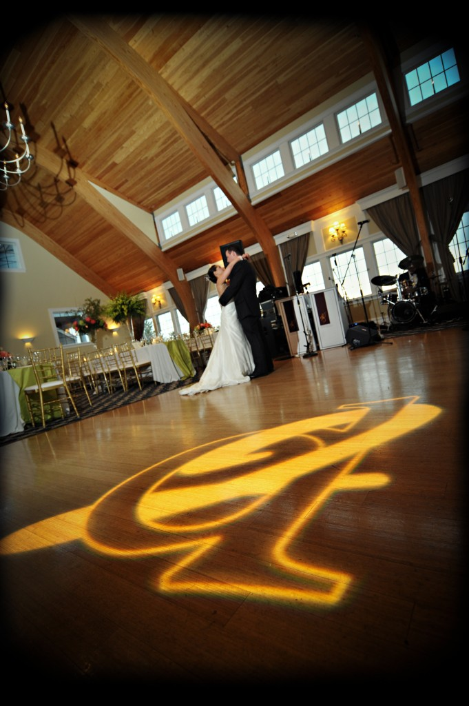 Jacob created the monogram that was turned into a gobo that shined on the dance floor