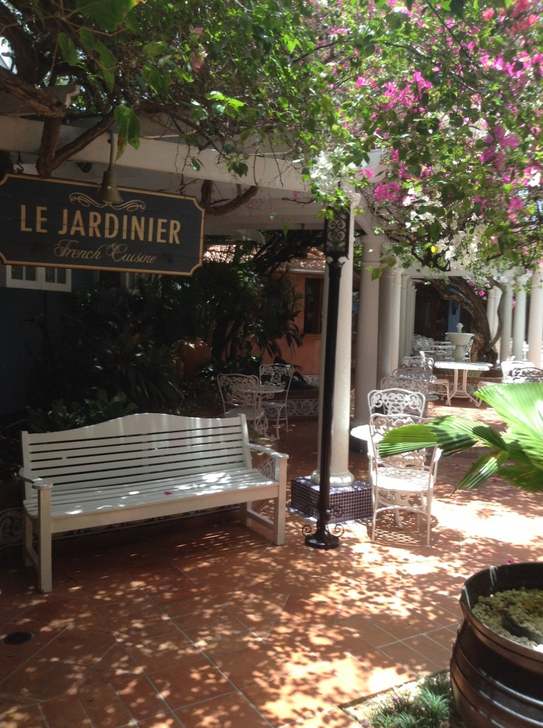 Courtyard entrance to Le Jardinier Restaurant one of eight at the Sandals Royal Caribbean Resort.