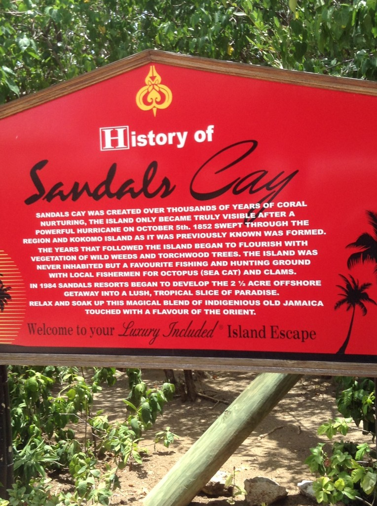 sign at the entrance to Sandals Cay - the private island at Sandals Royal Caribbean