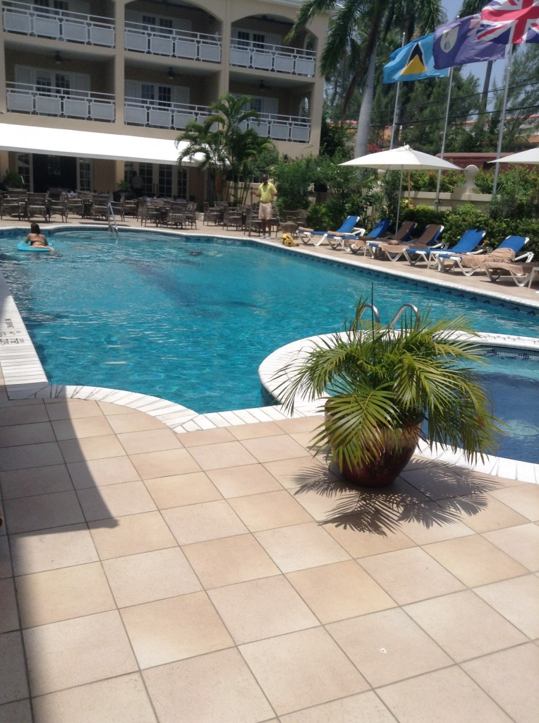 The pool at the Sandals Carlyle Resort is large and luxurious.