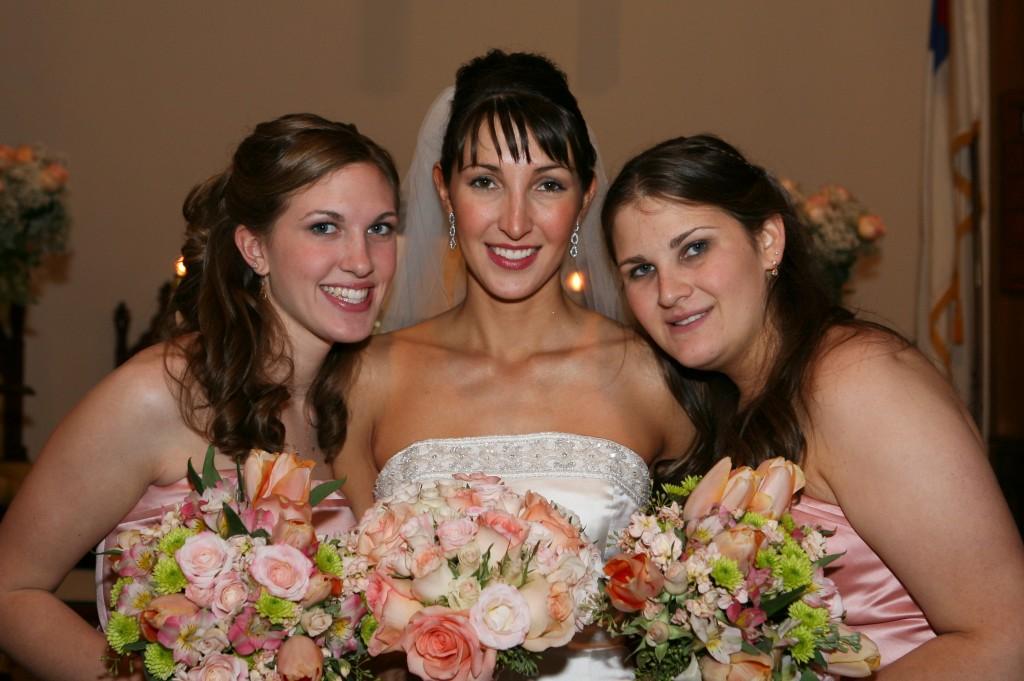 Peach rose bridal bouquet