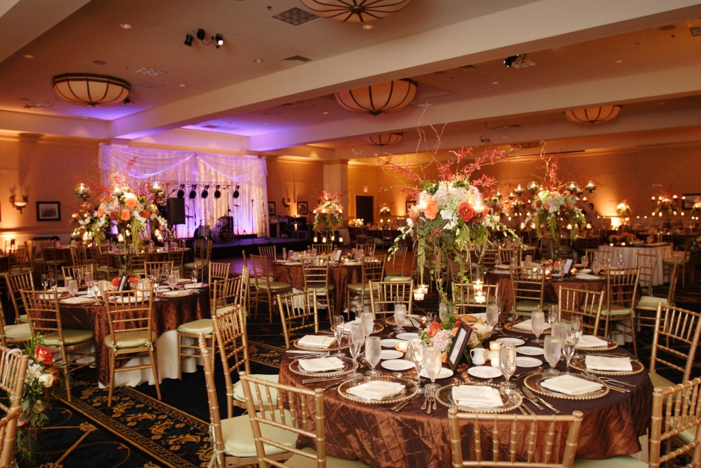 Caroline and James featured high and low centerpieces throughout the room. Photo courtesy of Foschi Photography